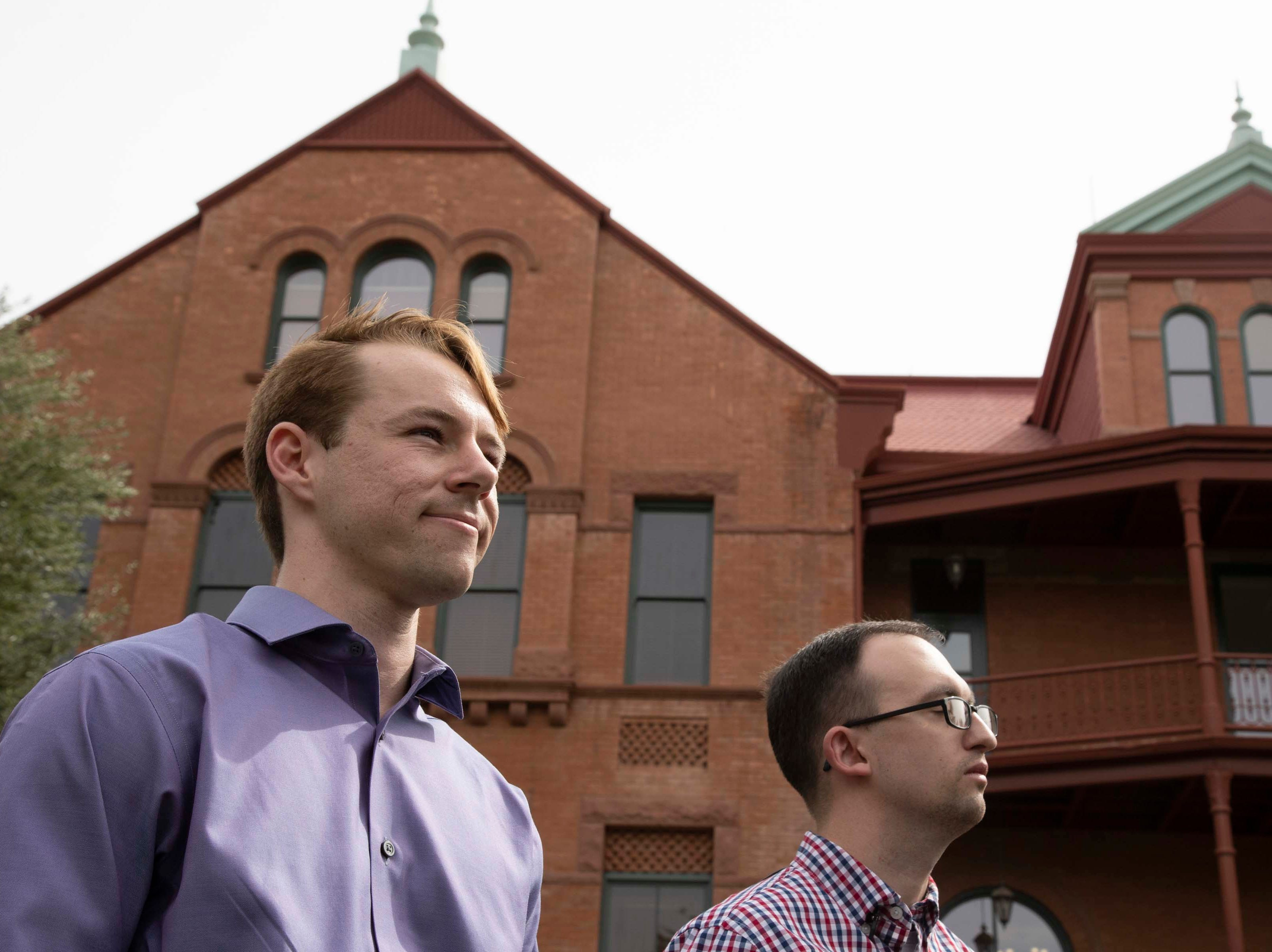 College Republicans United President  Mark Northway (right) and co-founder Kevin Decuyper publicly apologize in front of Old Main at ASU on March 26, 2019.