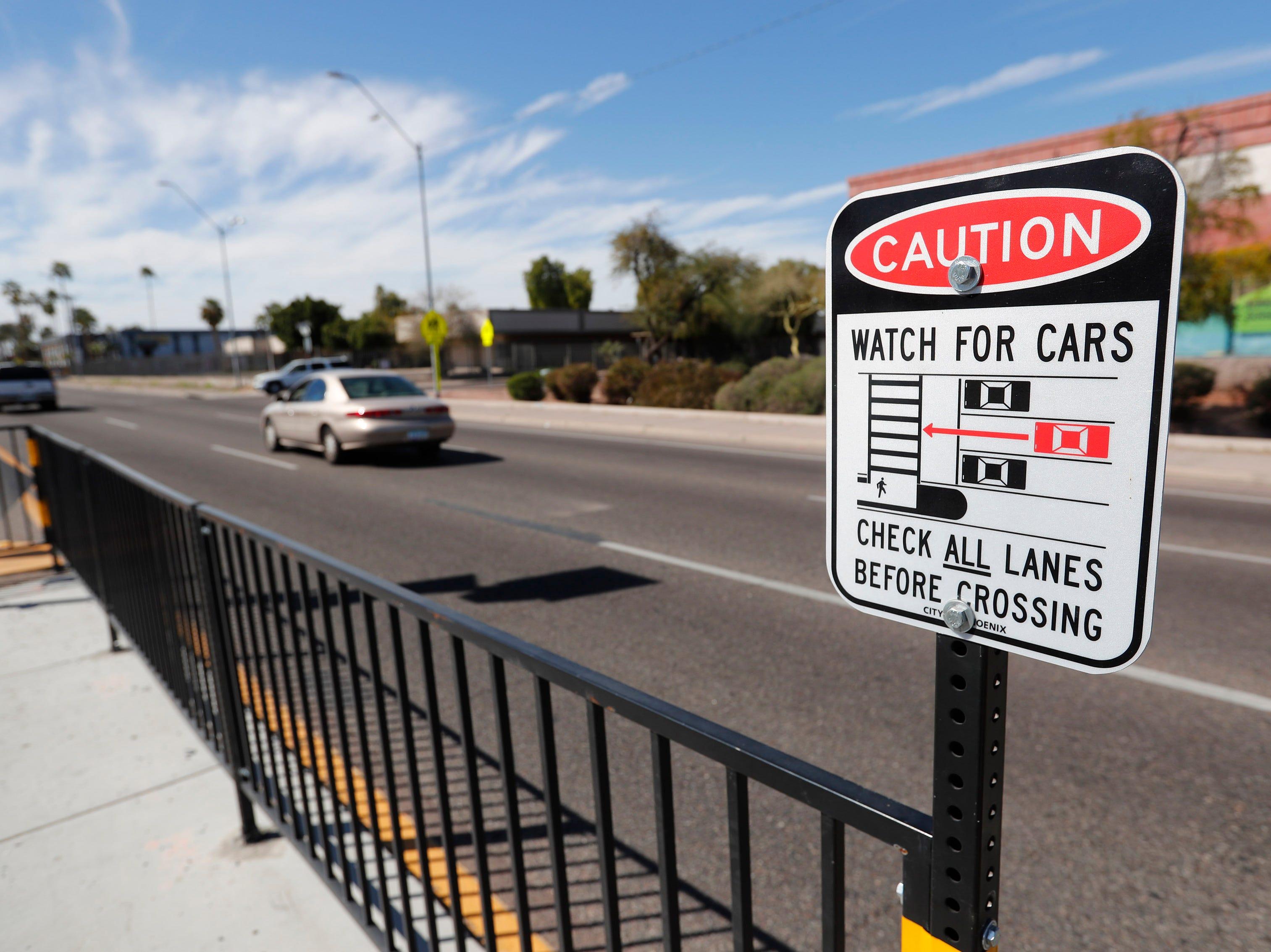 Pedestrian crosswalk on Indian School Road west of 19th Avenue in Phoenix on March 10, 2019.