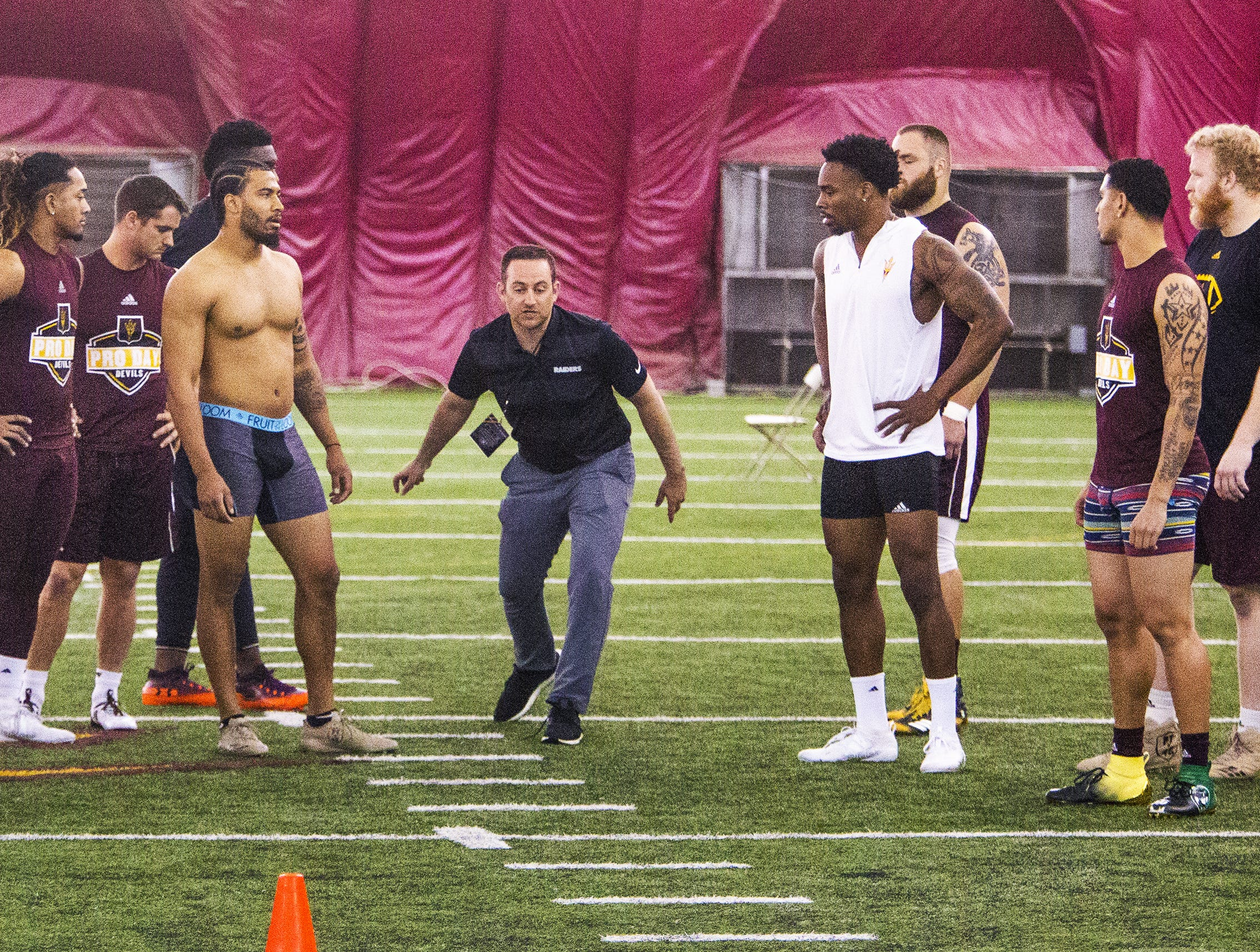 Former college football players attend the ASU 2019 Football Pro Day held on campus in Tempe, Wednesday, March 27, 2019.