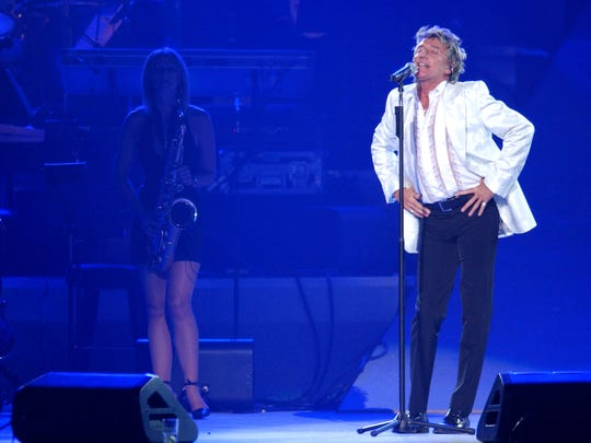 Rod Stewart performs at the 7th Annual Andre Agassi Charitable Foundation's Grand Slam for Children benefit concert on September 28, 2002 at the MGM Grand Hotel in Las Vegas.