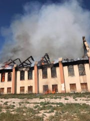 The blaze was set by three individuals who have not yet been identified.