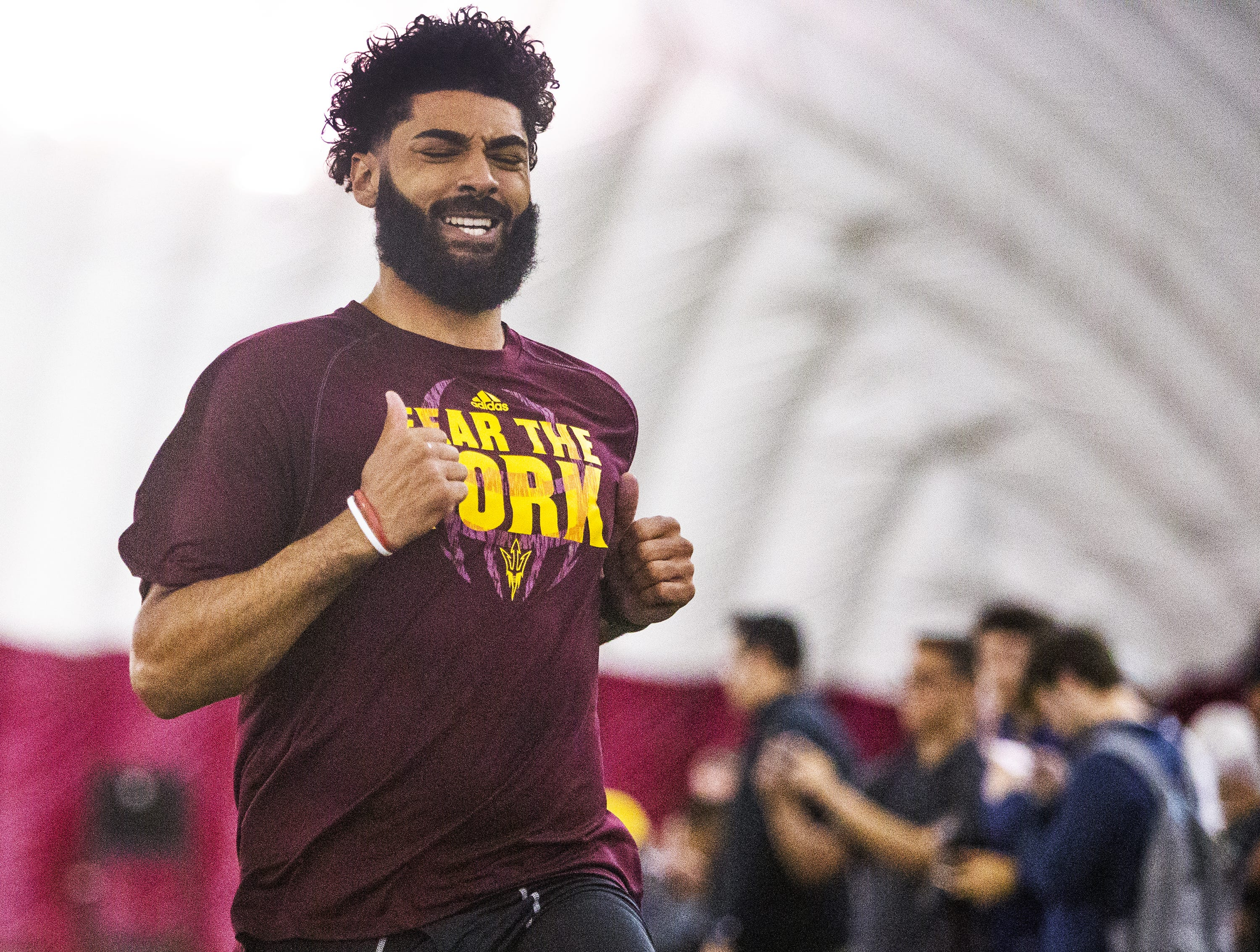 Former Arizona State University quarterback Manny Wilkins, Jr., runs the dash at the 2019 Football Pro Day held on campus, Wednesday, March 27, 2019.