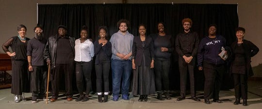 """A curtain call from """"Black Stories Matter: Stories from Across Generations"""" with Eva Tenuto, left to right; Micah Blumenthal, TMI Project workshop leader; Odell Windfield; Ashley St. Hubert; Shawaine Davis; Eddie Hillje; Freedom Walker; Erin Bareto; Gopal Harrington; Beetle Bailey; and Dara Lurie, TMI Project Workshop Leader."""
