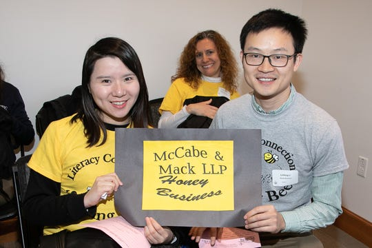 """Exchange students Linfeng Li and Ling Liao were the 2018 team """"Honey Business."""""""