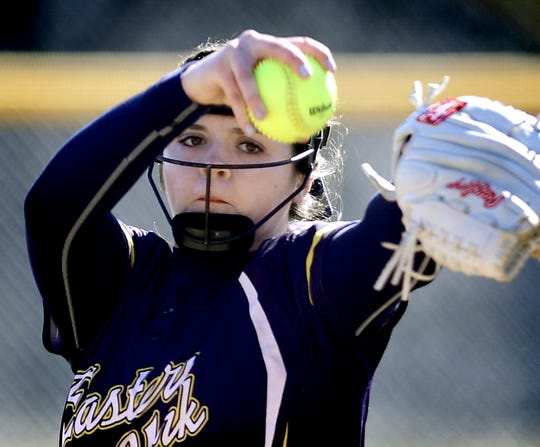 Eastern York pitcher Maelynn Leber, seen here in a file photo, pitched a two-hit shutout on Thursday against Northern Lebanon.