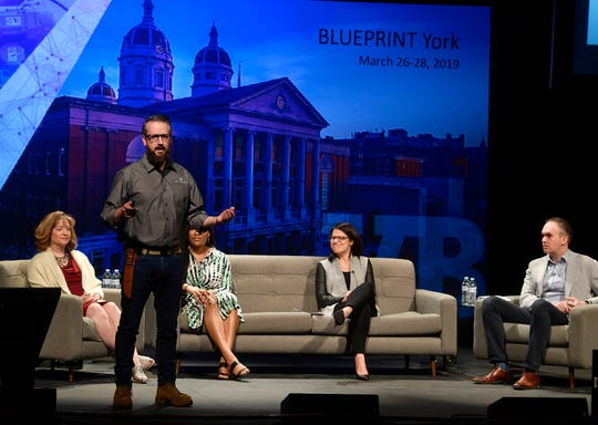 John McElligott, Founder and CEO, York Exponential,, talks about the Fourth Industrial Revolution during VentureBeat BLUEPRINT YORK at the Appell Center, Wednesday, March 27, 2019. John A. Pavoncello photo