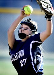 Dallastown pitcher Kelsie Merriman wears a mash while delivering to an Eastern York batter during softball action at Eastern Wednesday, March 27, 2019. Bill Kalina photo
