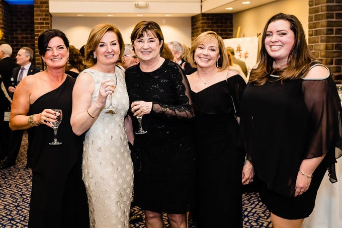 On March 2, 2019, Penn-Mar Human Services held their annual Black Tie Gala, which hosted more than 600 people. (Left to right) Chrissy Sprinkel, Gala Chair Wendy Gallo, Sandra Rolph, Ginger Beigel and Abby Sprinkel pose at the gala.