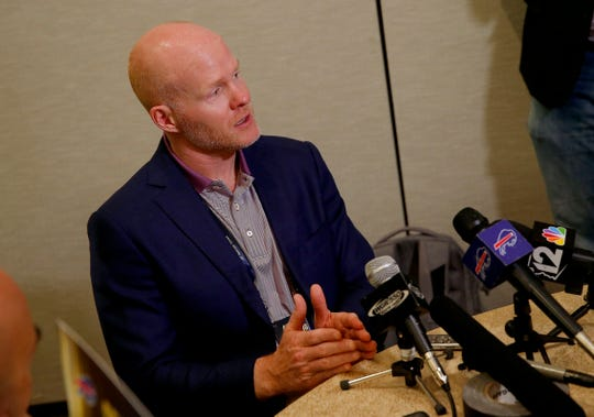 Buffalo Bills head coach Sean McDermott speaks to the media during the NFC/AFC coaches breakfast during the annual NFL owners meetings Tuesday.
