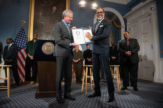 New York City Councilman Robert Cornegy, D-Brooklyn, was honored at New York City Hall by Mayor Bill de Blasio for receiving the Guinness World Record for world's tallest male politician on Wednesday, March 27, 2019.