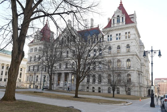 Exterior view of the New York state Capitol, Tuesday, March 26, 2019, in Albany, N.Y.