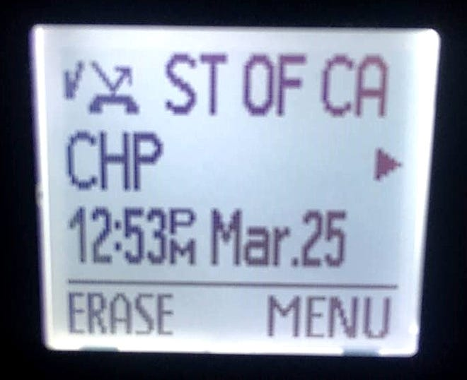 The California Highway Patrol shared this image of a robocall asking for money from a Shasta County resident. The caller ID appears to come from a legitimate state of California/CHP phone number but the CHP says it does not make calls like this.