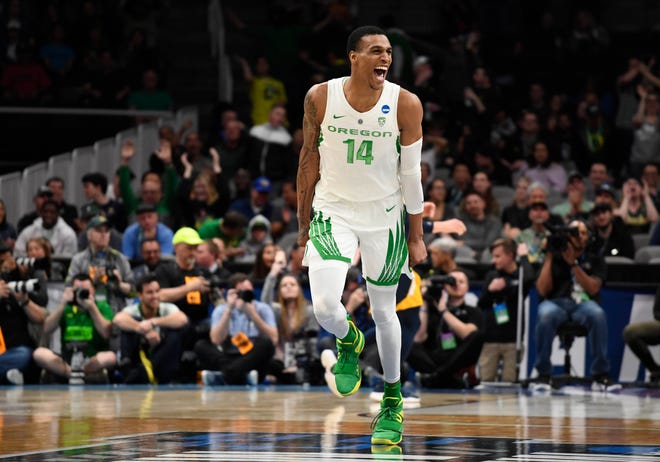 Mar 24, 2019; San Jose, CA, USA; Oregon Ducks forward Kenny Wooten (14) celebrates against the UC Irvine Anteaters during the second half in the second round of the 2019 NCAA Tournament at SAP Center. Mandatory Credit: Kelley L Cox-USA TODAY Sports