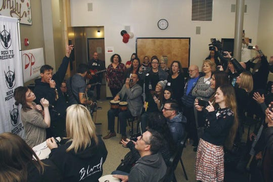 A live group session took place at the Rock to Recovery press event launching the company's Portland office on Feb. 28 at the De Paul Treatment Centers.