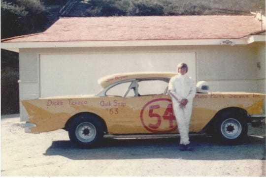 Doug, pictured here with his first race car, first raced at Watsonville Speedway as a teenager.