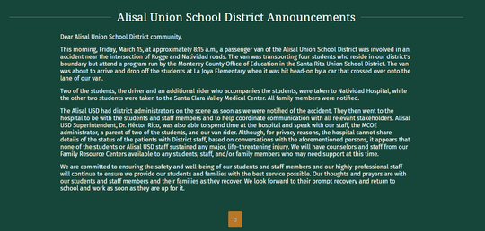 A press release on the Alisal Union School District website addresses the crash. March 27, 2019.