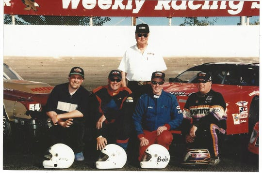 Doug's father, Dick (top, center), owned a Texaco gas station as well as an auto repair shop in Prunedale during Doug's stock car career.