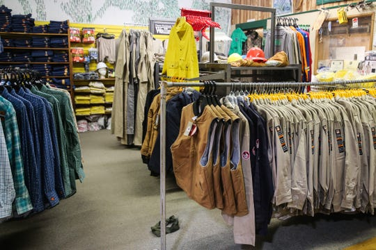 A section of clothing for oil-field workers Thursday, March 21, 2019, at Cole's Army Surplus.