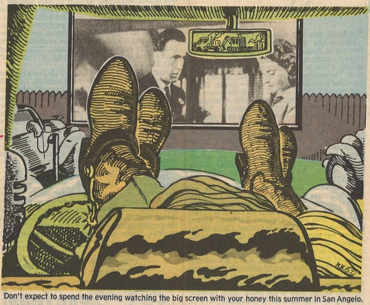 This photo illustration of a drive-in movie date comes from a May 29, 1983 San Angelo Standard-Times article.