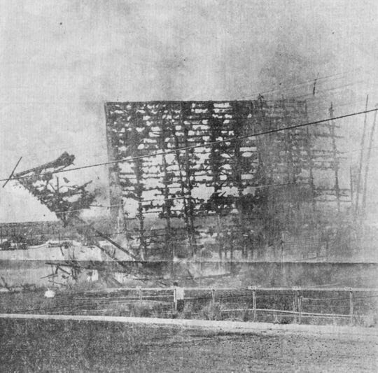 The Jet Drive-In falls apart after a 2 alarm fire on Nov. 5, 1968. This was one of several drive-ins in San Angelo.