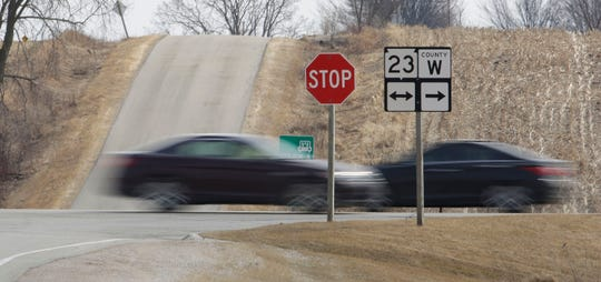 Vehicles are a blur of travel on State 23 on Wednesday, March 27, 2019, near St. Cloud, Wis. The state said it will start construction on the highway to develop the road as four-lane highway between Sheboygan and Fond du Lac.