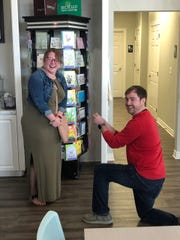 Chase Weeden proposes to his girlfriend, Paige TeGantvoort, at Oh My Cupcakes! on Saturday, March 23, 2019. She said yes.