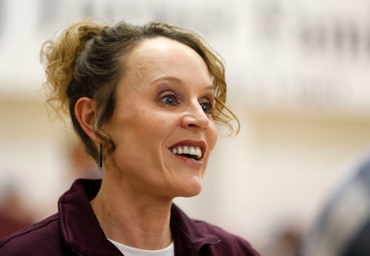 Jackie Stiles speaks to media before the Missouri State Lady Bears practice on Wednesday, March 27, 2019.