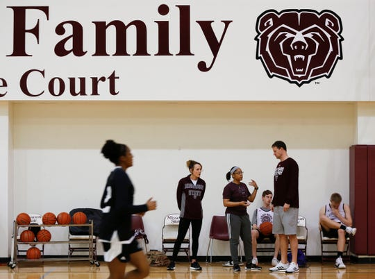 Missouri State Lady Bears coach Jackie Stiles during practice on Wednesday, March 27, 2019.