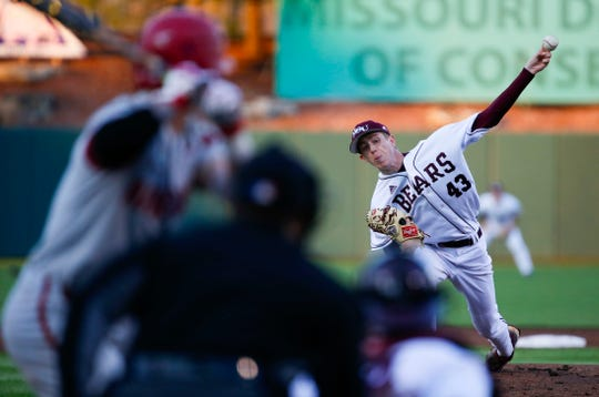 Missouri State starting pitcher Ben Cruikshank delivers a pitch to the plate during a game against the Arkansas Razorback at Hammons Field in Springfield, Mo. on Tuesday, March 26, 2019.