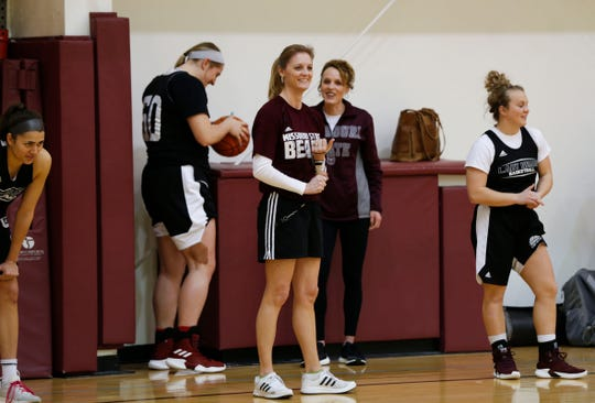 Missouri State Lady Bears head coach Kellie Harper leads practice on Wednesday, March 27, 2019.