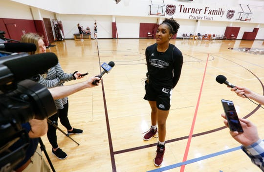 Missouri State freshman Lady Bear Jasmine Franklin takes questions before practice on Wednesday, March 27, 2019.