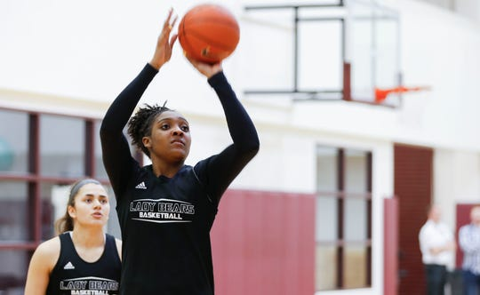 Missouri State freshman Lady Bear Jasmine Franklin shoots a basket during practice on Wednesday, March 27, 2019.