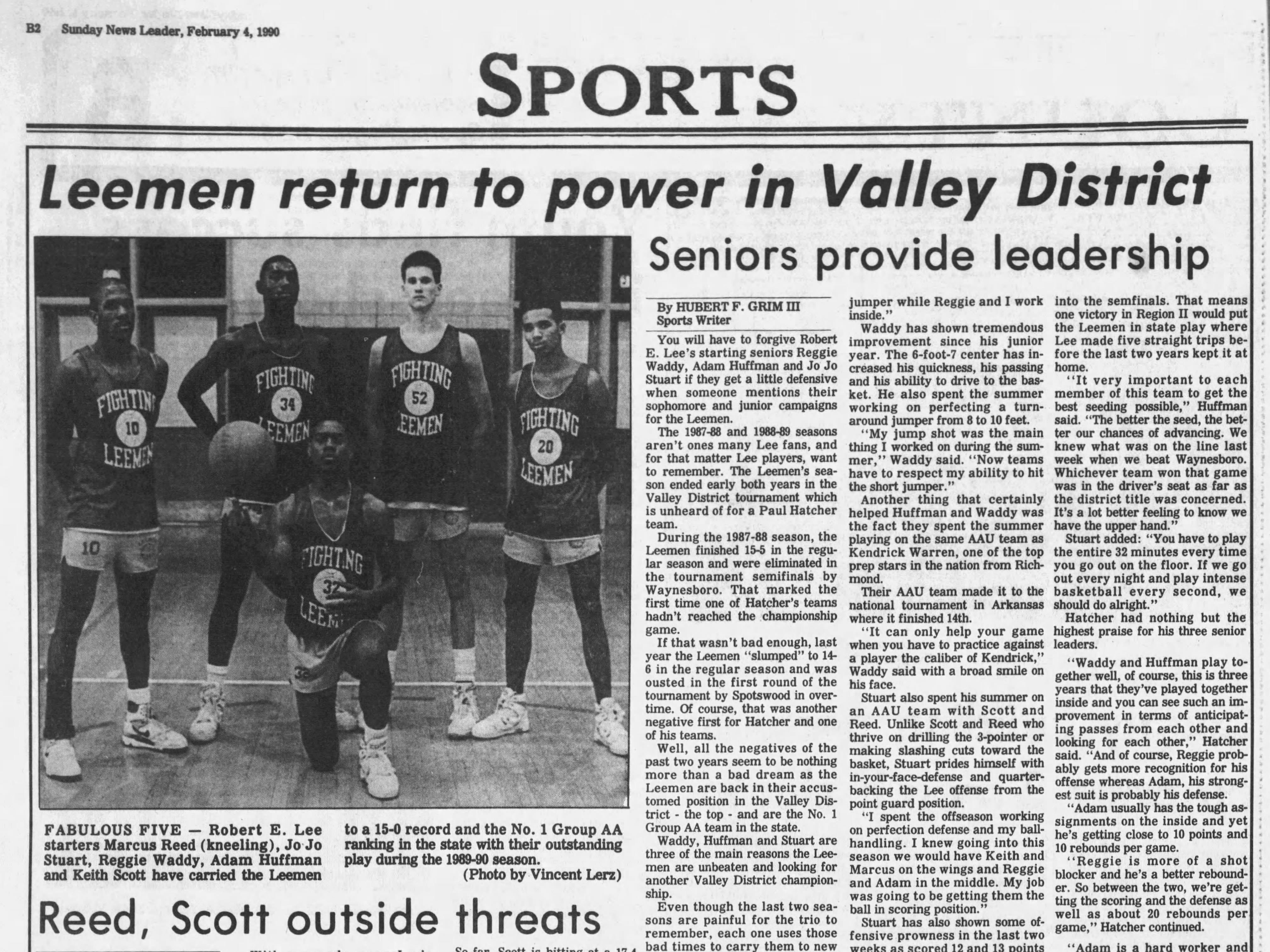 Keith Scott was part of the powerful 1989-90 Lee High basketball team, previewed here in a story in The News Leader from February 1990.