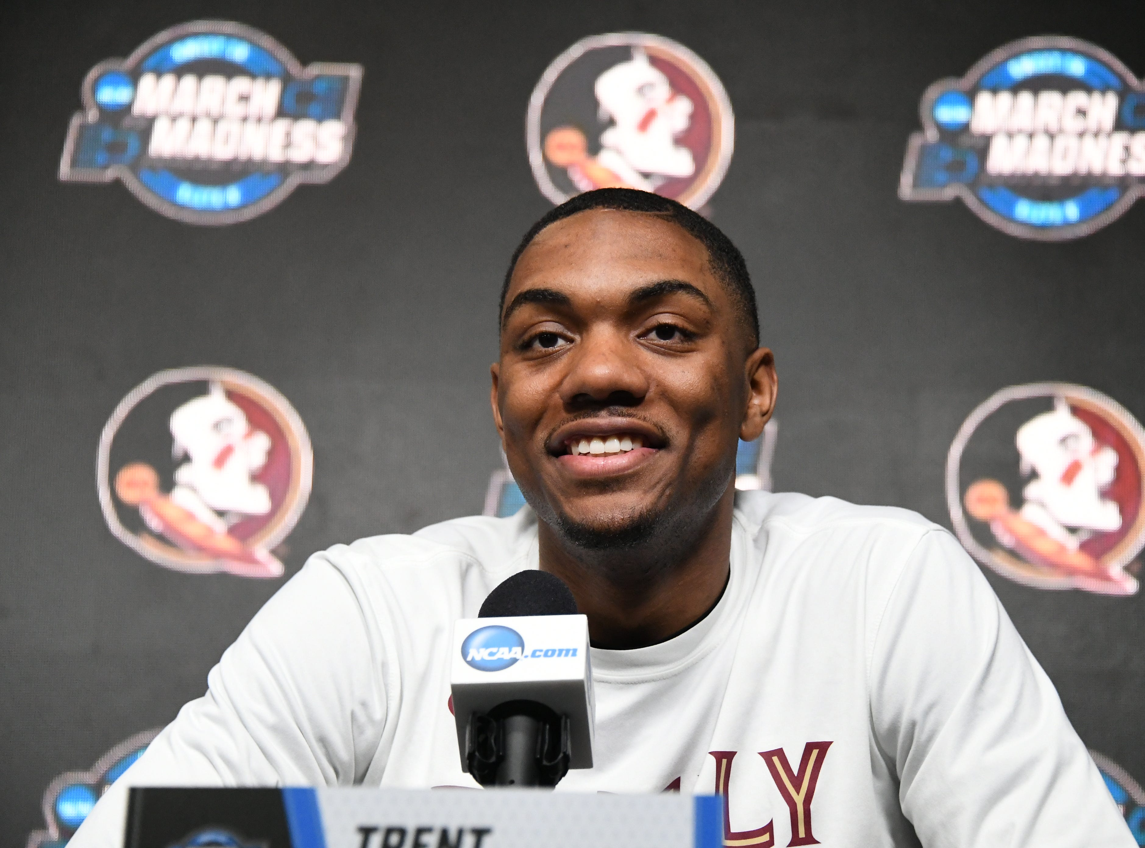 March 27, 2019; Anaheim, CA, USA; Florida State Seminoles guard Trent Forrest (3) speaks with media during practice for the west regional of the 2019 NCAA Tournament at Honda Center. Mandatory Credit: Richard Mackson-USA TODAY Sports