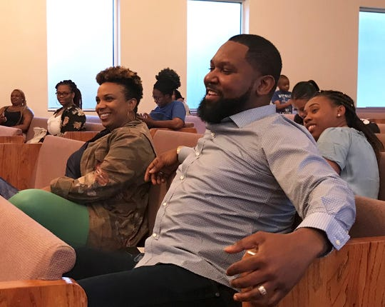 Me Against the World director, Markeshia Gorden, (left) and writer, pastor Quincy Griffin, Sr., are all smiles watching the performers during rehearsal on Tuesday, March 26, 2019.