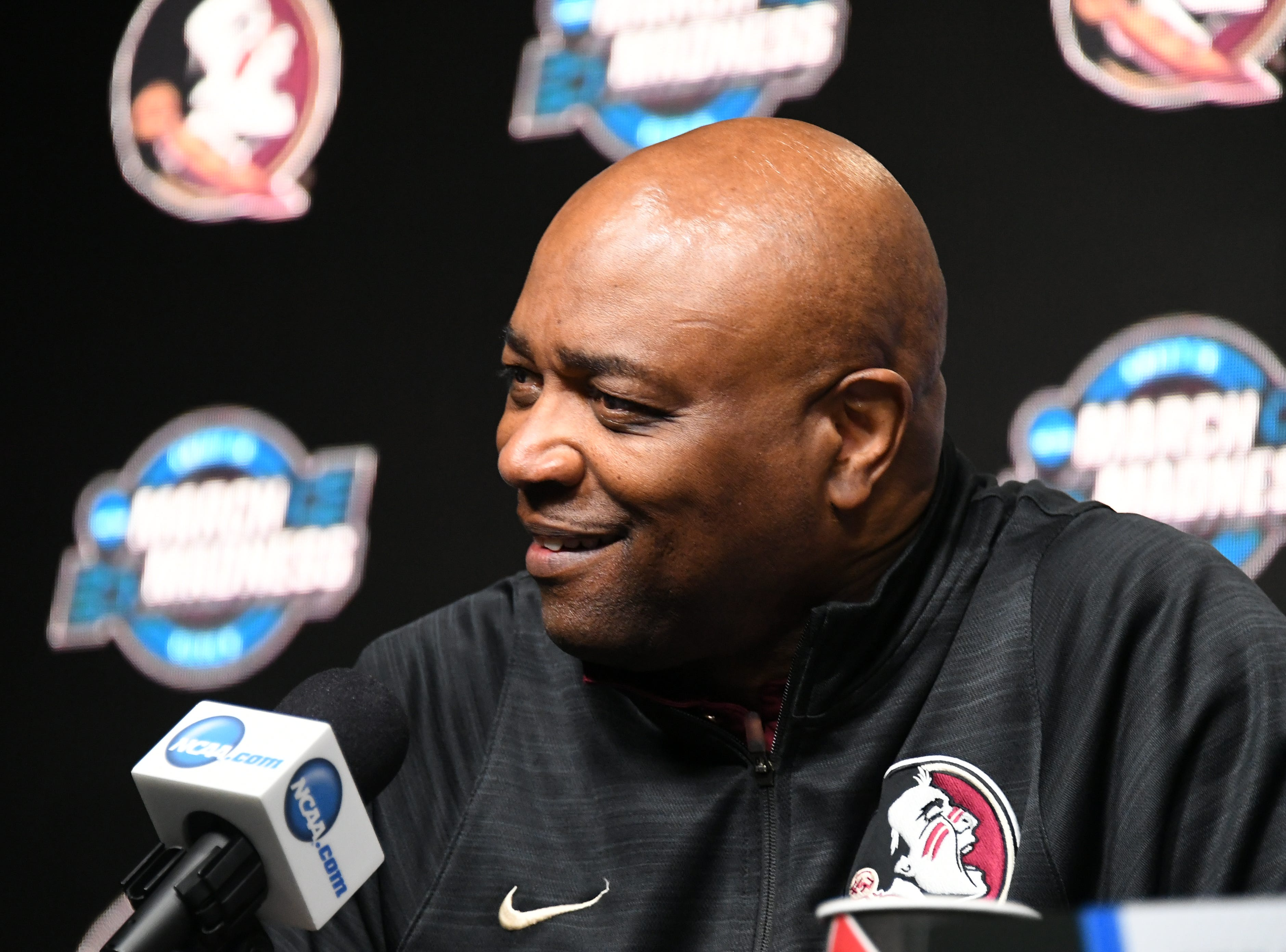 March 27, 2019; Anaheim, CA, USA; Florida State Seminoles head coach Leonard Hamilton speaks with media during practice for the west regional of the 2019 NCAA Tournament at Honda Center. Mandatory Credit: Richard Mackson-USA TODAY Sports