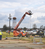 Corey Crum was electrocuted and killed March 10 near the Liberty County High School baseball field when this forklift he was operating came into contact with overhead power lines. His wife, Shana Crum, died trying to rescue him, and his son, Chase Crum, was injured trying to help his parents. A lawsuit filed by the Crum family March 27 alleges the power lines were improperly strung by Florida Public Utilities Company.