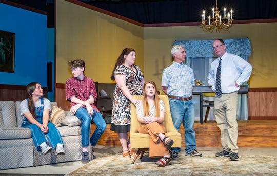 Mr. Bellamy (Mike Herrin), far right, has been given one task: Keep the number of people invited to the wedding from getting too big. Family confessions reveal everyone has been secretly adding names to the list. From left: Aiko Austin, Nicolas Nelson, Crystal Nelson, Alexa Roddenberry, Tim Nettles.