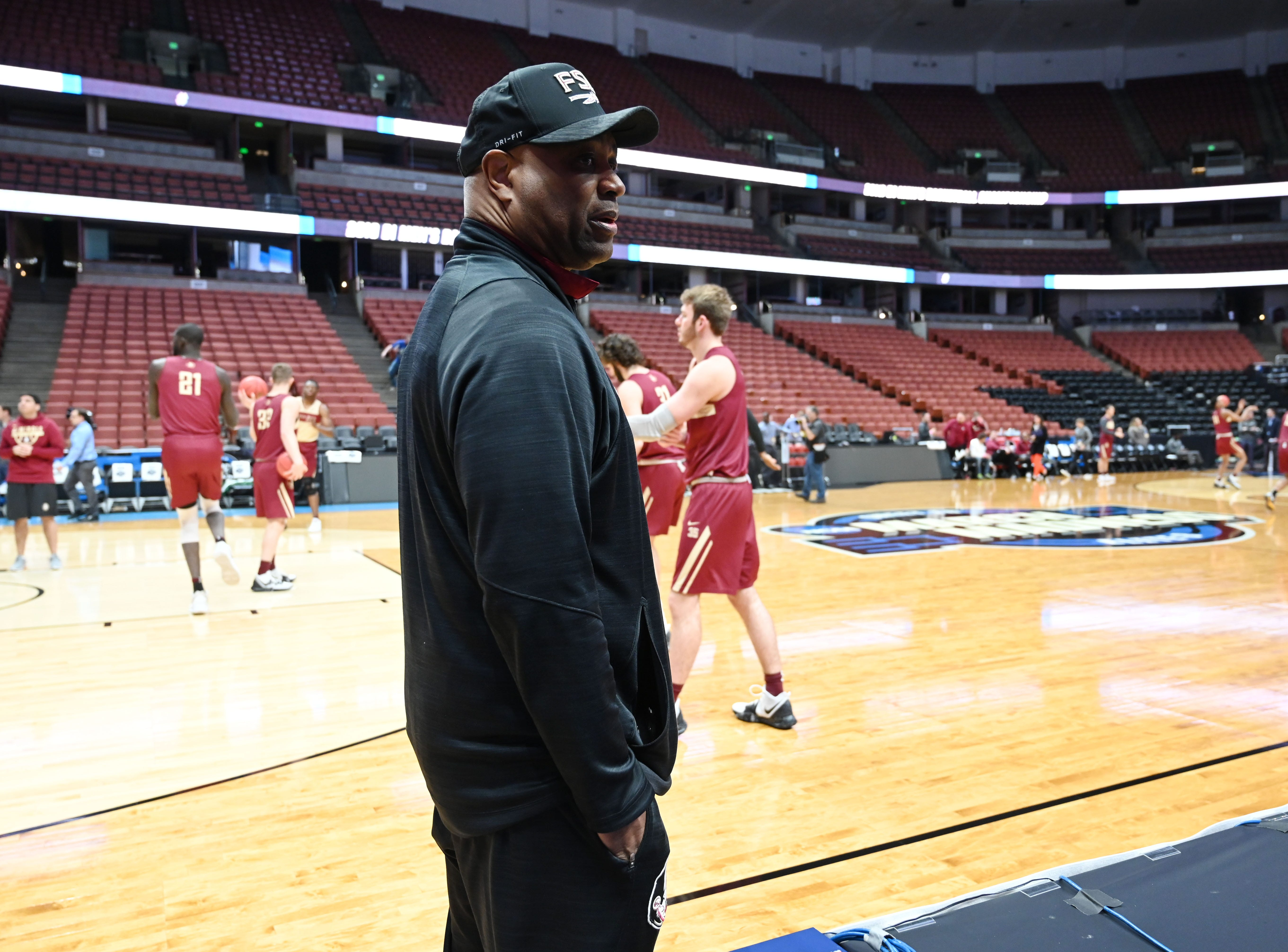 March 27, 2019; Anaheim, CA, USA; Florida State Seminoles head coach Leonard Hamilton during practice for the west regional of the 2019 NCAA Tournament at Honda Center. Mandatory Credit: Robert Hanashiro-USA TODAY Sports