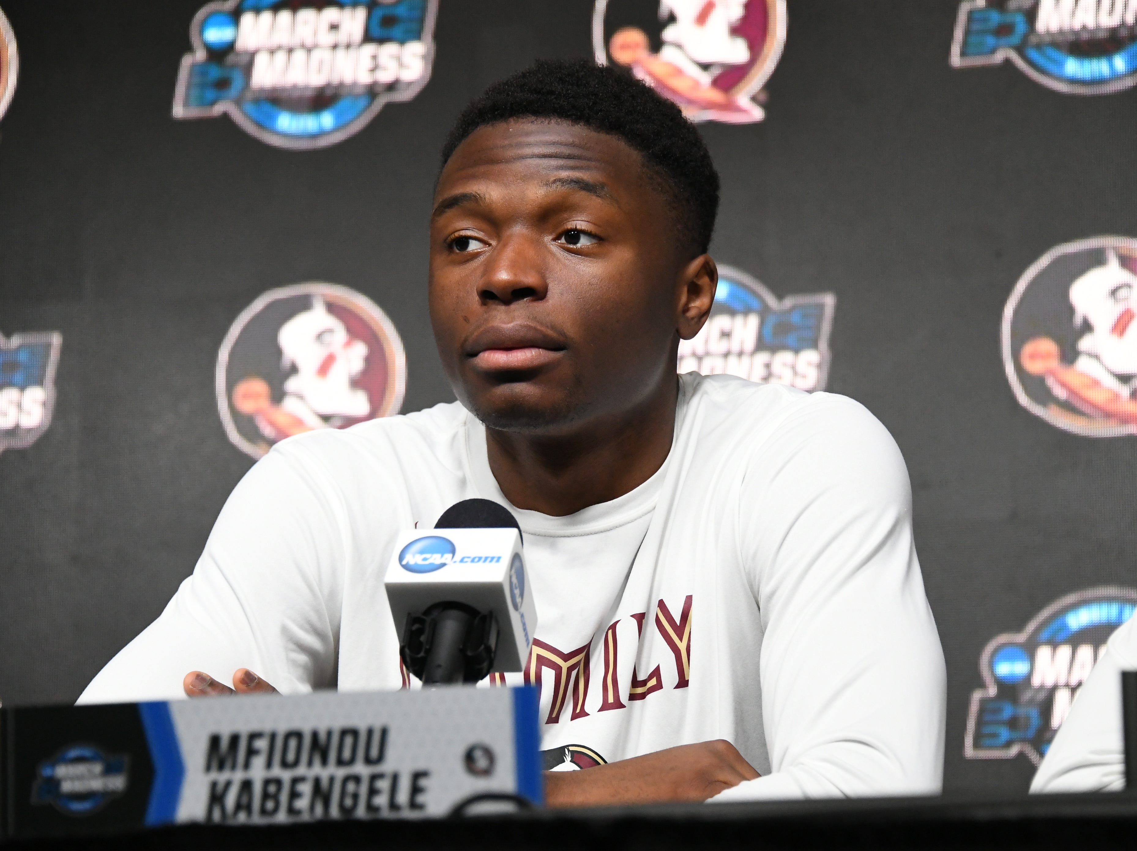 March 27, 2019; Anaheim, CA, USA; Florida State Seminoles forward Mfiondu Kabengele (25) speaks with media during practice for the west regional of the 2019 NCAA Tournament at Honda Center. Mandatory Credit: Richard Mackson-USA TODAY Sports