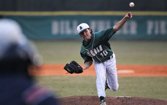 Lincoln senior Shawn Snyder pitches as the Trojans beat Godby 21-0 on Tuesday, March 26, 2019. Snyder threw a one-hitter over four innings.