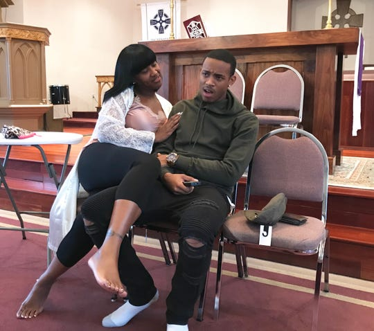 Star Swain (left) rehearses a scene with Ki'Jana K. Garmon. They appear in the stage play Me Against the World. This production premiers Friday, April 5, 2019 at Lee Hall Auditorium on the campus of Florida A&M University.