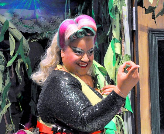 "Leslie Gray plays Audrey II, the botanical marvel, in the Young Actors Theatre production of ""Little Shop of Horrors"""