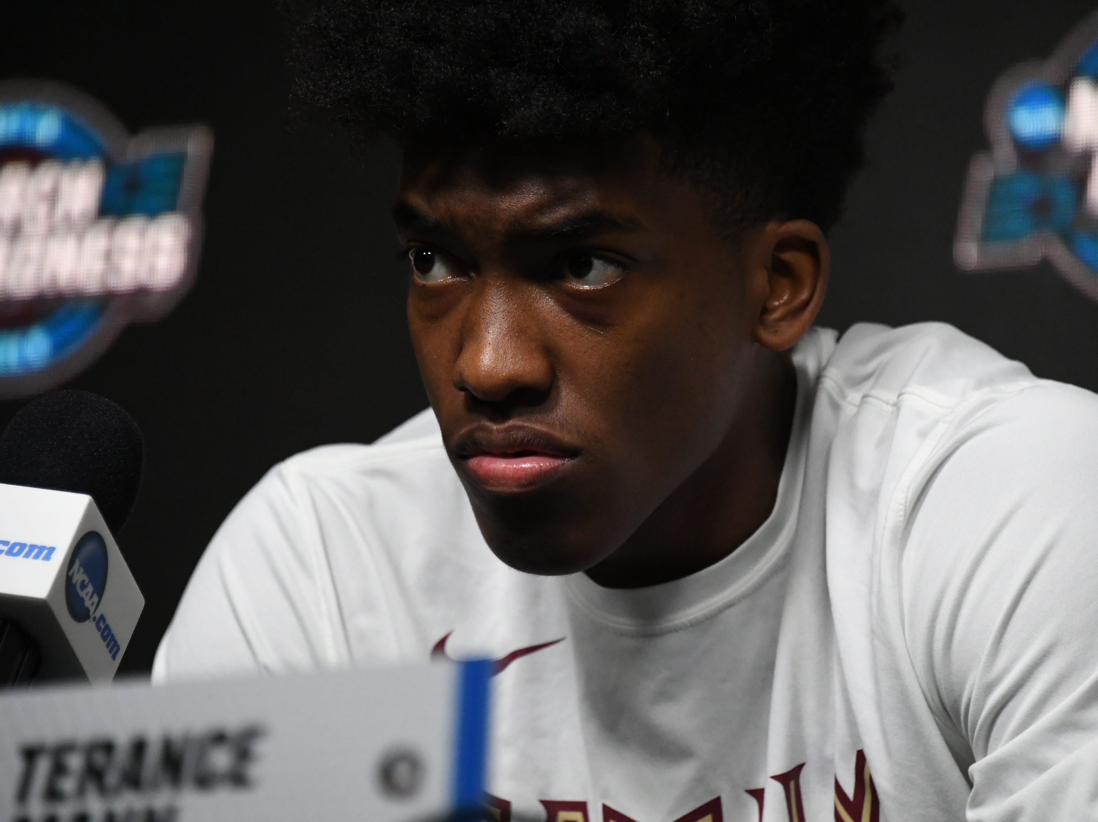 March 27, 2019; Anaheim, CA, USA; Florida State Seminoles guard Terance Mann (14) speaks with media during practice for the west regional of the 2019 NCAA Tournament at Honda Center. Mandatory Credit: Richard Mackson-USA TODAY Sports