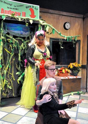 """The carnivorous Audrey II (Leslie Gray) hovers above the botanical genius, Seymour Krelborn (Nate Jones) and Audrey (Leah Bakan) in the Young Actors Theatre production of """"Little Shop of Horrors"""""""