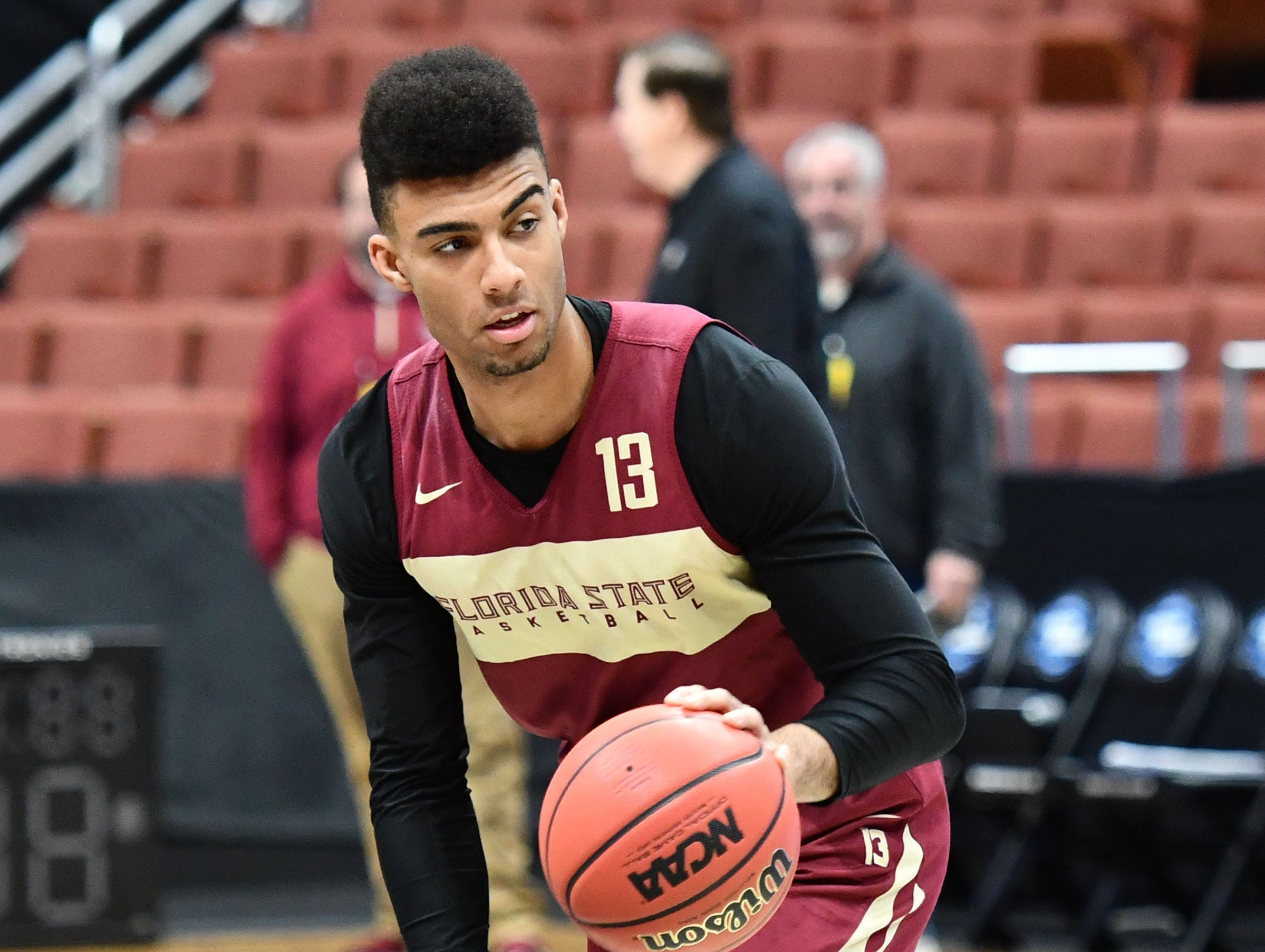 March 27, 2019; Anaheim, CA, USA; Florida State Seminoles guard Anthony Polite (13) during practice for the west regional of the 2019 NCAA Tournament at Honda Center. Mandatory Credit: Robert Hanashiro-USA TODAY Sports