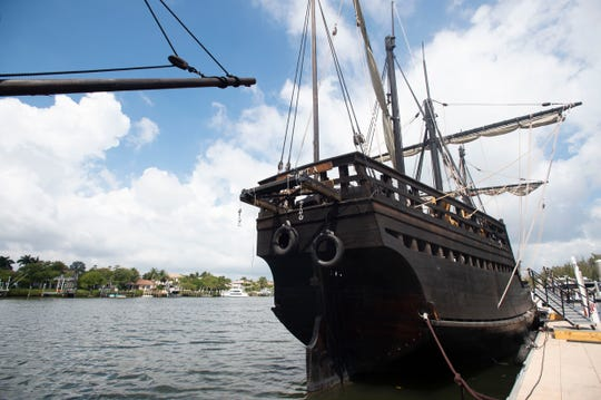 "Crew members from the Niña and Pinta, replicas of Christopher Columbus' caravels he sailed during explorations in the 1490s, prepare the ships for public viewing Wednesday, March 27, 2019, at Harbourside Place in Jupiter. Niña and Pinta will be docked in Jupiter through April 7, when they'll head to the Vero Beach City Marina for a week. Niña's captain Stephen Sanger (not pictured) enjoys teaching people about exploration and displaying the ""craftsmanship"" of the ships that were built in Brazil. ""Techniques on how to build these ships is passed down through generations,"" he said. Ship viewings officially begin at 9 a.m. Friday and admission charges are $8.50 for adults, $7.50 for seniors and $6.50 for students aged 5-16. Children 4 and under are free. For more information, visit www.ninapinta.org or call 787-672-2152."