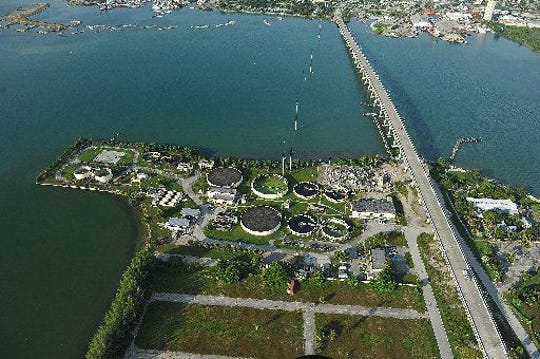 The Fort Pierce Utilities Authority wastewater treatment plant is seen along the Indian River Lagoon on Seaway Drive on Hutchinson Island in Fort Pierce.