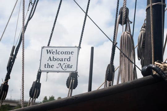 """Crew members from the Niña and Pinta, replicas of Christopher Columbus' caravels he sailed during explorations in the 1490s, prepare the ships for public viewing Wednesday, March 27, 2019, at Harbourside Place in Jupiter. Niña and Pinta will be docked in Jupiter through April 7, when they'll head to the Vero Beach City Marina for a week. Niña's captain Stephen Sanger (not pictured) enjoys teaching people about exploration and displaying the """"craftsmanship"""" of the ships that were built in Brazil. """"Techniques on how to build these ships is passed down through generations,"""" he said. Ship viewings officially begin at 9 a.m. Friday and admission charges are $8.50 for adults, $7.50 for seniors and $6.50 for students aged 5-16. Children 4 and under are free. For more information, visit www.ninapinta.org or call 787-672-2152."""