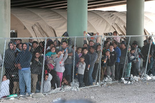 Hundreds of migrants are being held beneath the Paso del Norte International Bridge in El Paso as CBP has run out of space to process the asylum seekers.